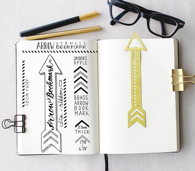 Bullet Journal Arrow Stencil Bookmark