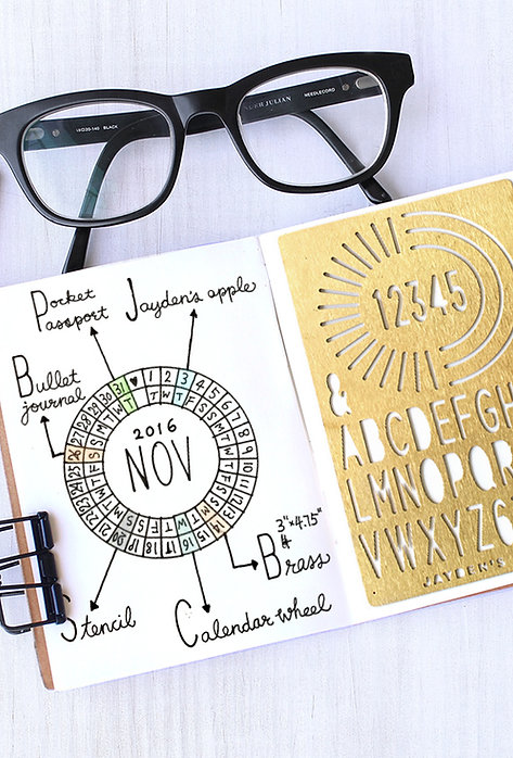 Bullet Journal / Planner Stencil - Calendar Wheel (Small)
