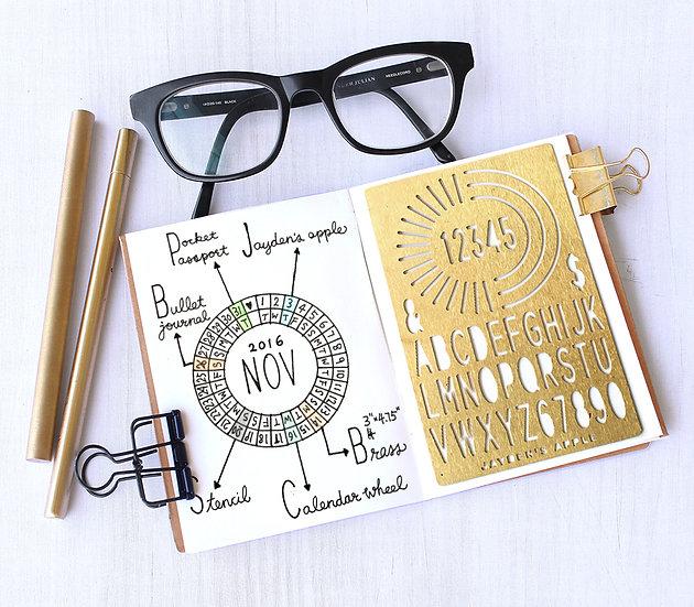 Bullet Journal / Planner Stencil - Calendar Wheel (Small)