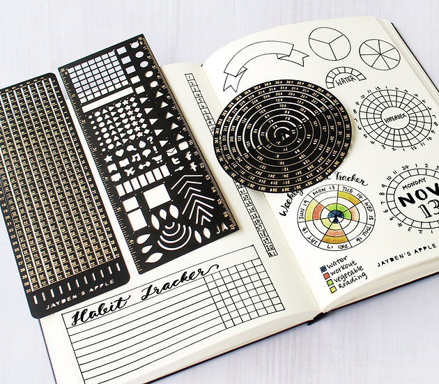 Bullet Journal Essential Stencils Set - Black