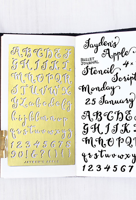 Bullet Journal Stencil - Script Alphabet