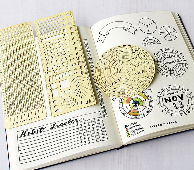 Bullet Journal Essential Stencils Set - Gold