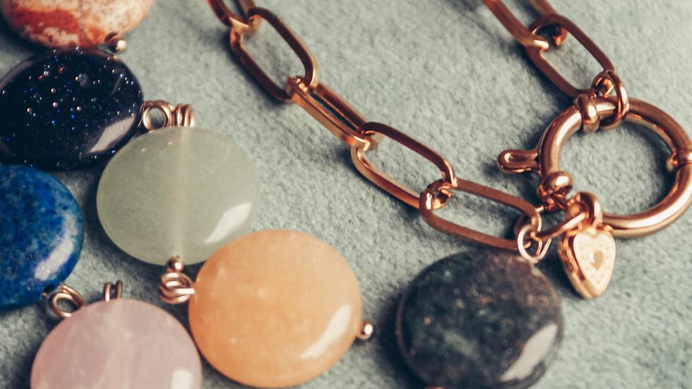 Armband EIKO - RVS + edelsteen (goud)