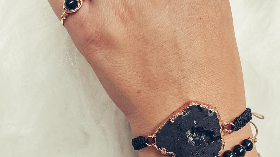 Armband AKEMI - Zwarte Agaat