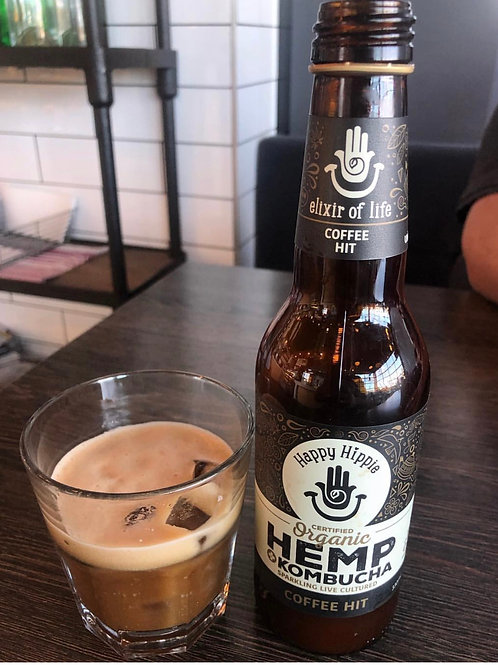 Happy Hippie Organic Kombucha+ HEMP - Coffee Hit 330ml