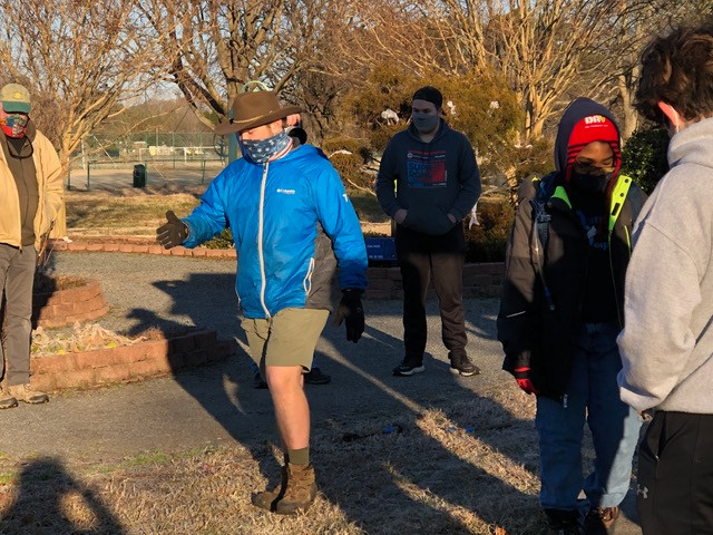Eagle Scout candidate, Steven McWithey, gives instructions to his team at the start of the day.  The temperature at the time was 35 degrees.