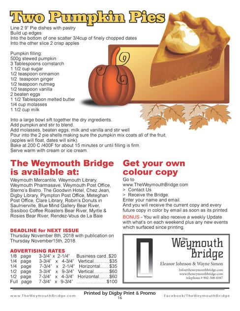 The Weymouth Bridge 20 October-November