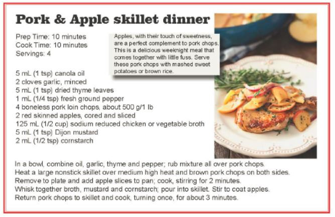 Pork and apple skillet dinner May 2019.J