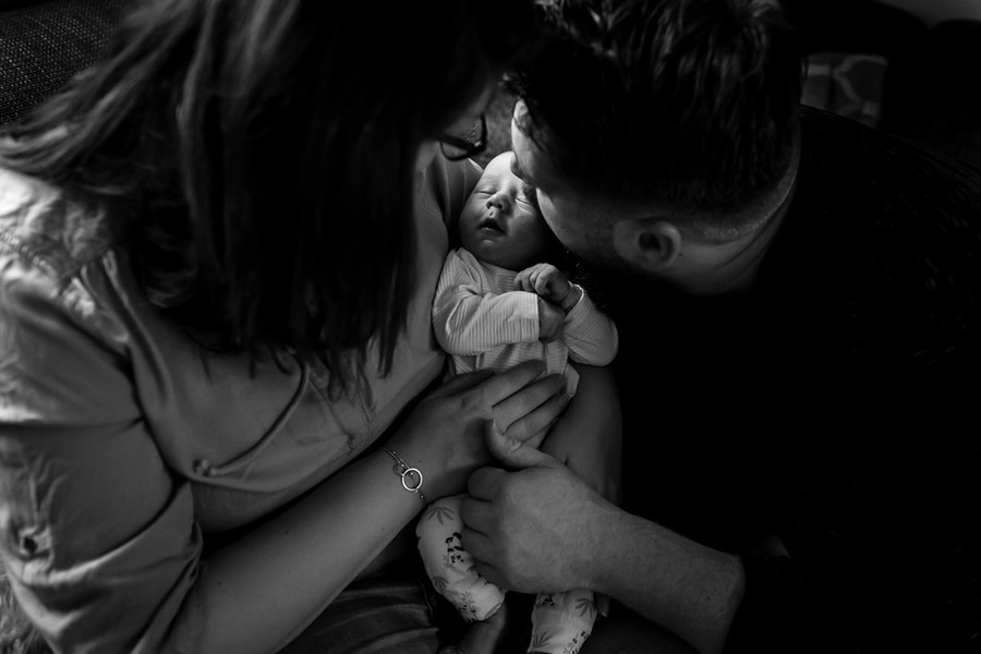Zwart witte foto met baby