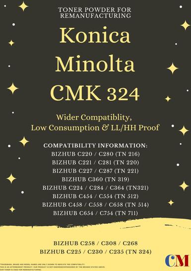 Konica Minolta CMK 324 Toner Powder for Remanufacturing - TN 324