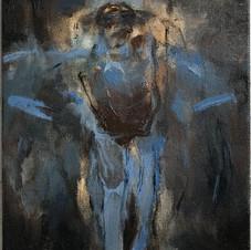 "'Blue Bat (Beloved, Blinking)', 2020, oil on canvas, 8""x10"""