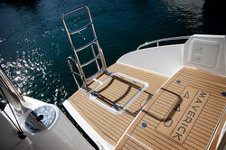 Transom port with swim ladder