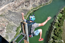 Base jumping from the world's highest dunk tank