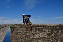 BASE jumper doing technical flips in Twin Falls, ID