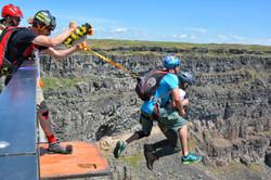 Professional BASE Jumper takes customer on BASE jump