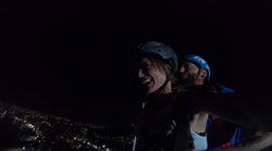 Night time Tandem BASE jump in Mexico