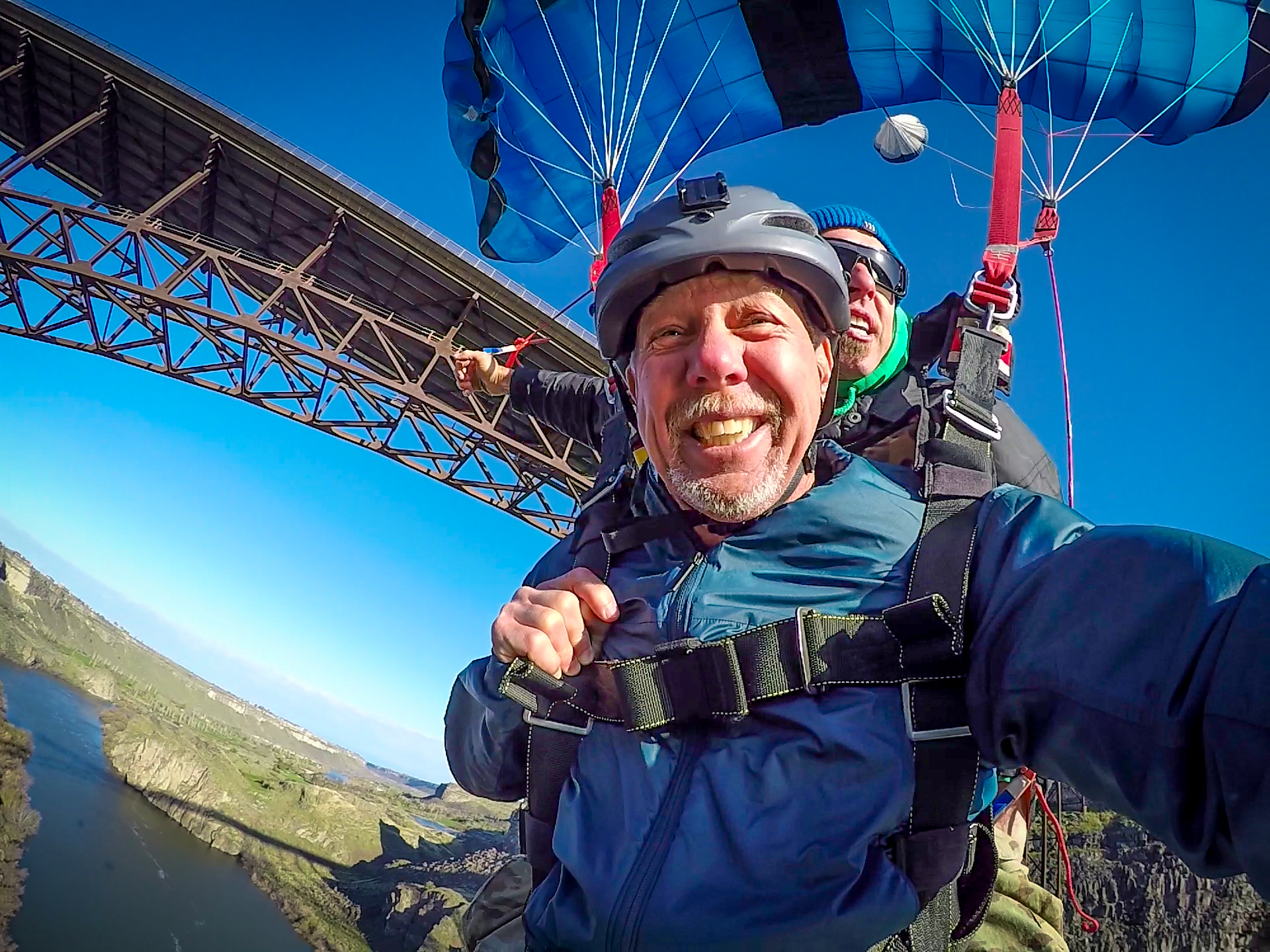 Thrilled Tandem BASE Jumper