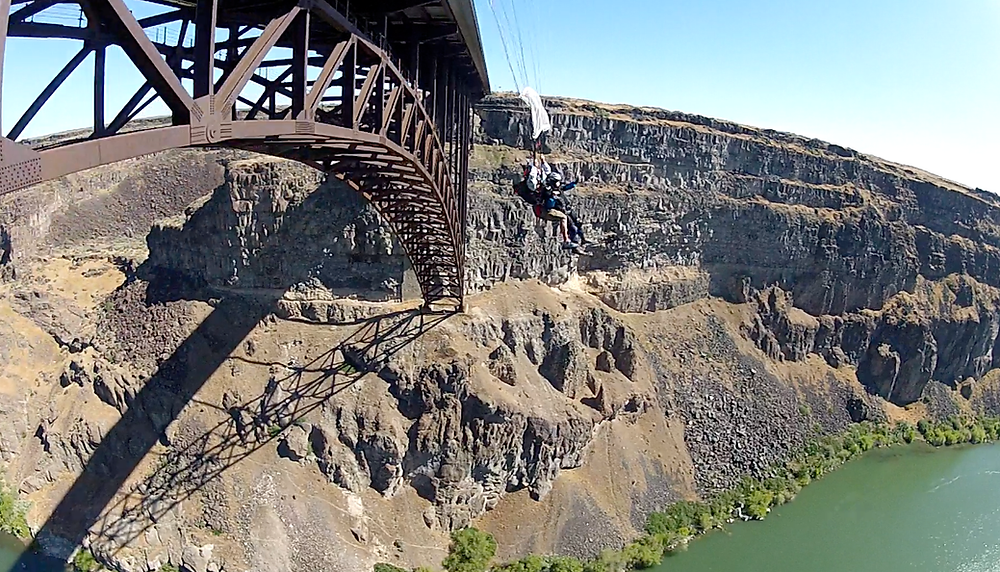 Dorothy Custer Tandem BASE jumping from a bridge in Twin Falls, Idaho with Sean Chuma