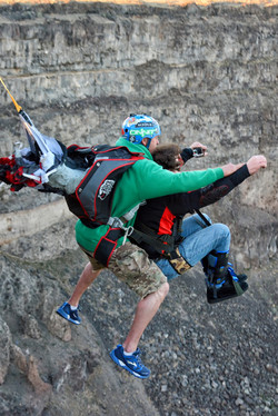 Tandem BASE jumping with disabilities