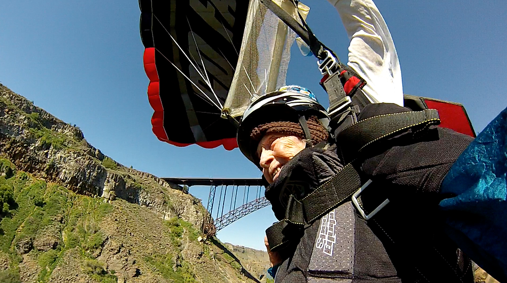 102 years old and going tandem base jumping