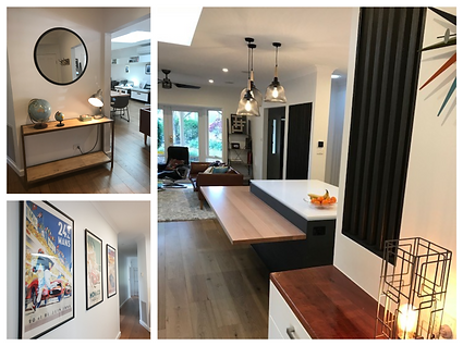 modern industrial with retro fusion design; screens create zoning whilst retaining stuctural restrictions; retro poster at; eames chair; floating timber dining table/bench