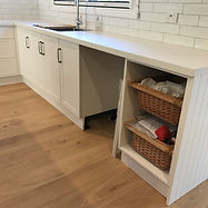Hampton style kitchen; classic style kitchen; polytec classic white kitchen; flush mount Franke sink; pull out cane drawers; enginered boards; Matt cabinetry fronts
