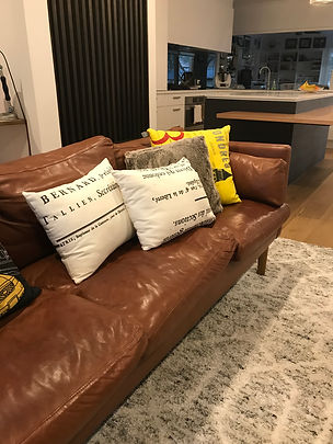 soft brown leather, industrial retro inspired lounge suite
