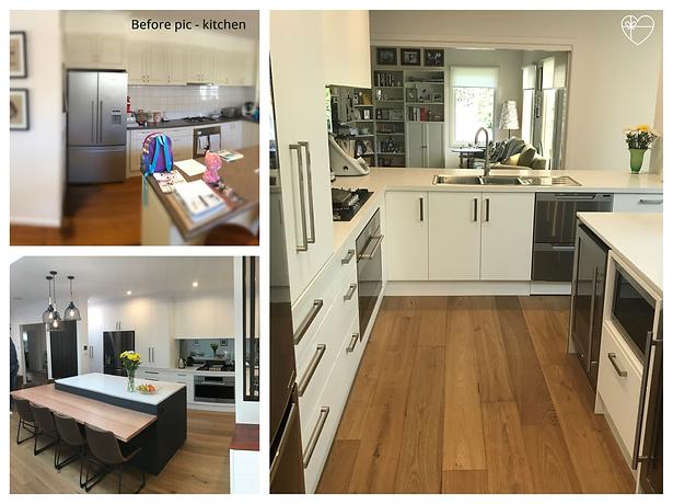 Before after photo kitchen; Janper; Quantum Kitchens; Lek Supply handles; perfect oak flooring; tinted mirror splashback