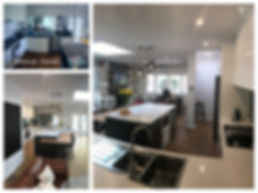 organic white caesarstone; perfect oak flooring; franke sink; industrial lighting; velux roof window; samsung The Frame TV; plantation shutter; Dulux white on white colour