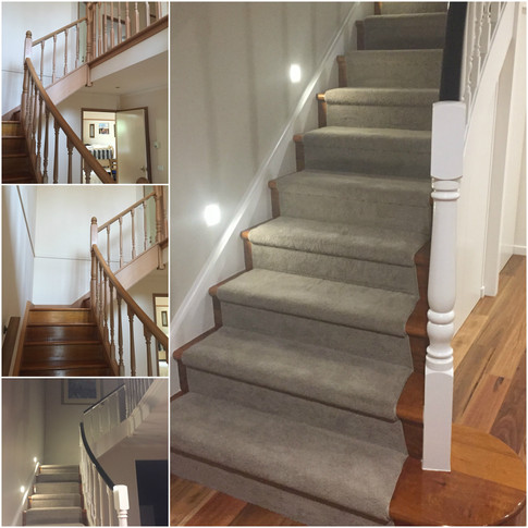 Installed carpet runner; Dulux Natural White balustrade, newels and posts, black japan stained hand rail; stair lighting from ANL Lighting
