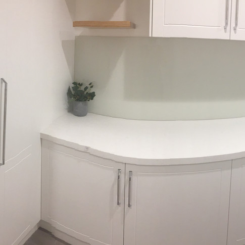 Laundry complete reconfiguration and redesign, storage ideas, floating timber shelving, feature tiles, glass splashback, bi metal cabinetry hardware