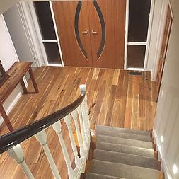 modern design, spotted gum timber flooring, stairwell runner, Knoxfield interior design
