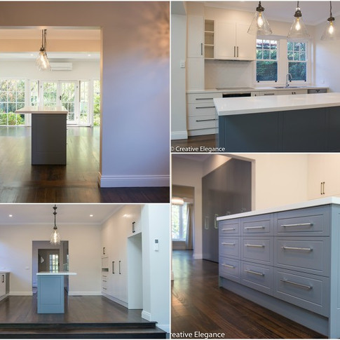 Stripped back existing kitchen.  Joinery included two pack shaker style cabinetry with an abundance of storage and functional pieces. Provincial glass lamps with black fittings to compliment dual usage of black and bright chrome cabinetry handles throughout.