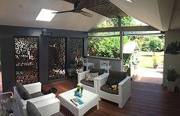 Outdoor Living Design; alfresco space; lasercut screens; outdoor fan; merbau deck; Dulux Raku