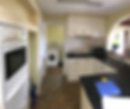 before photo of kitchen redesign; flat ceiling; limited storage; dark spaces