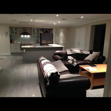 tiled lounge room, grey tiles, lounge room design