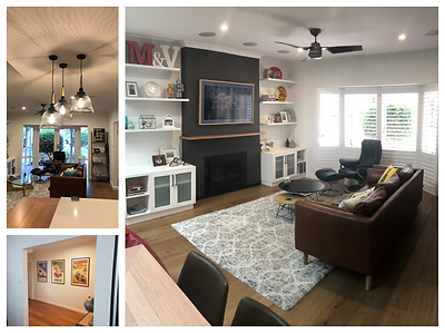 complete renovation; LOPI DVS 564 gas fire insert; wignells; Samsung The Frame TV; built in storage; wall hung floating shelving; retro furniture; eames reproduction; plantation shutters; hunter pacific ceiling fan; perfect oak flooring