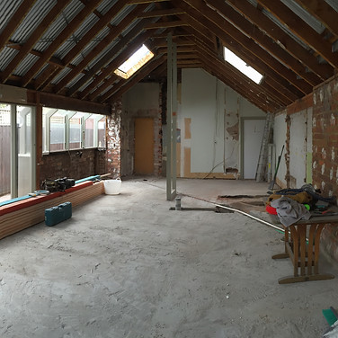 open plan redesign, reengineered roofing to make compliant, space after demolition