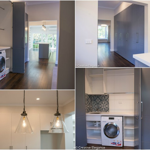 Transformed separate dining room - opening entry into kitchen and constructing full width european style laundry (which previously was situated inside actual kitchen cabinetry).