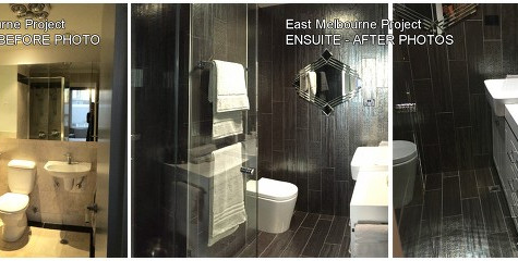Ensuite redesign, handmade feature Italian tiles, custom joinery, Gadsby inspired mirrors