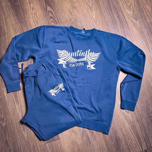 Slate Blue/w Ribbon & Wings Crew Neck Sweatsuit