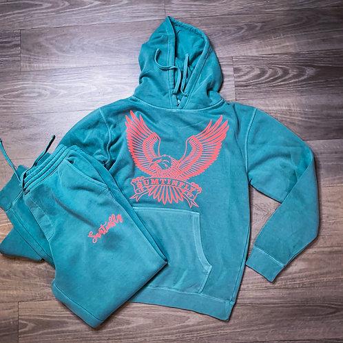 Mint/ w Pink Naked Eagle Sweatsuit