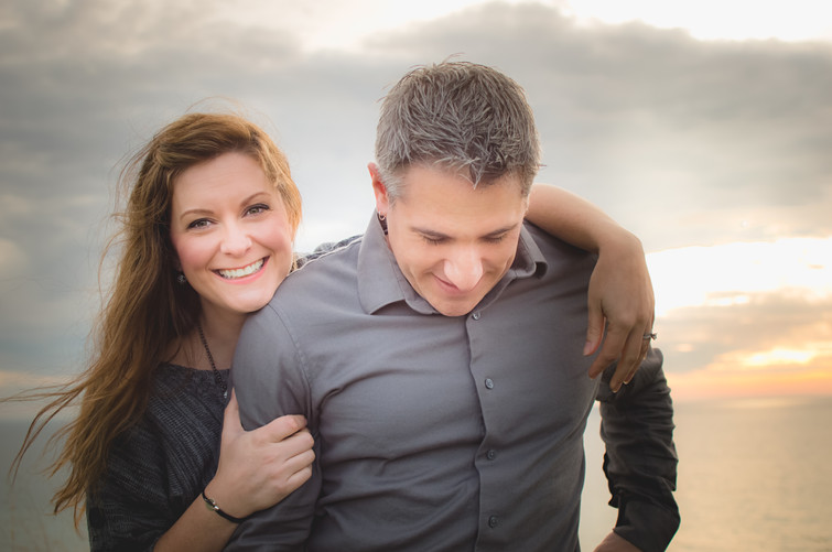 Wife and husband Hug at Sunrise for Portrait