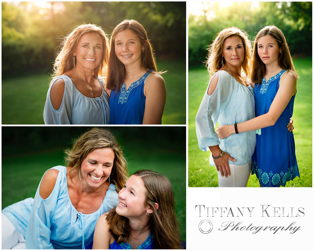 Mother daughter posing outside at sunset