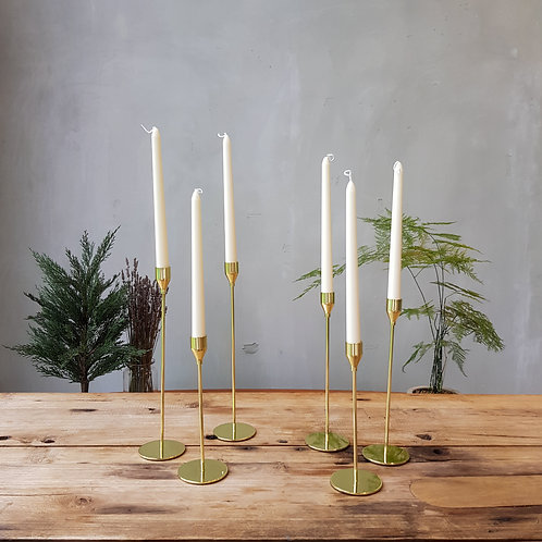 Gold Metal Candle Stands (Set of 6)