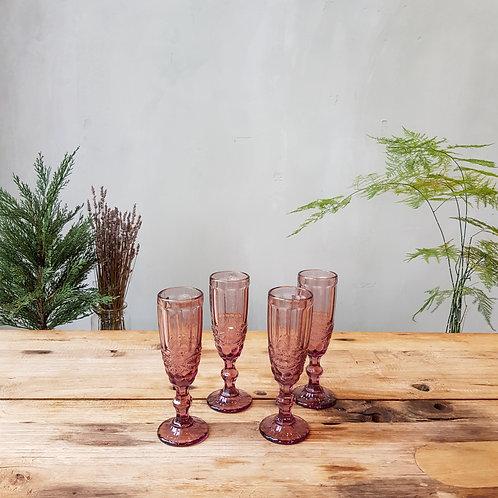 Pink Glass Goblets (Set of 8)