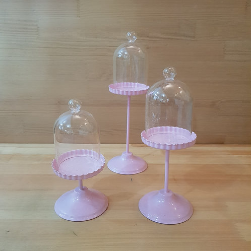 Set of 3 pink dessert trays