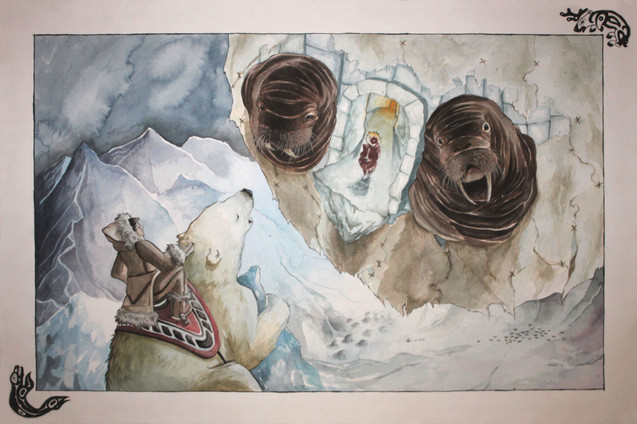 The Flight to the Moon. An Inuit folktale.