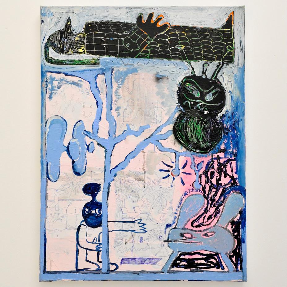 O.T. (Gestörte Signale series) / 2019 / 80x60cm / Acrylic on canvas  Wolfgang Günther / Emde Gallery / Solo show / Mainz, 2020