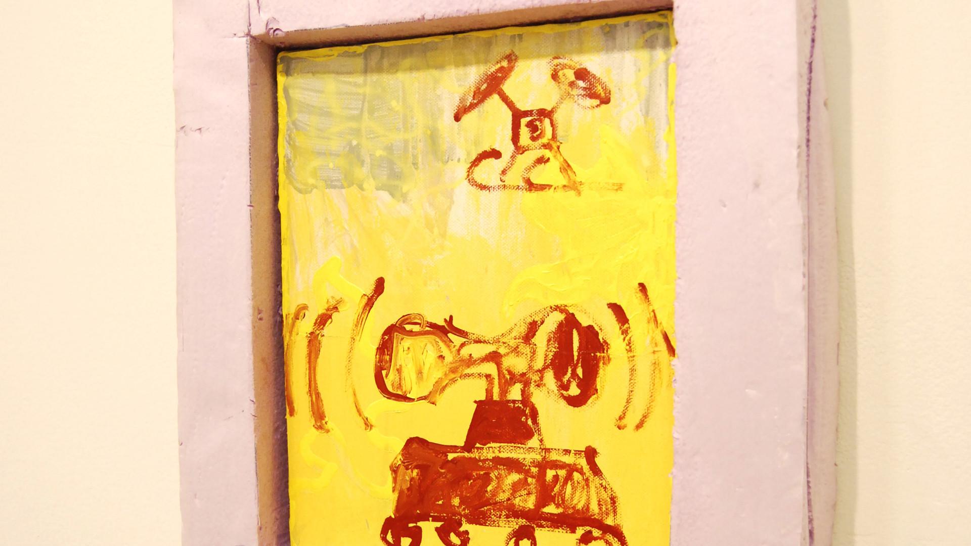 O.T. / 2019 / 30x24cm (ohne Rahmen) / Acryl,Lack auf Leinwand  ---   Magische Dystopie / mit Sophia Leitenmayer, Conrad Hübbe / MOM ART SPACE / Hamburg 2019 / Kuratiert von Jessica Herden, Pascal Brinkmann
